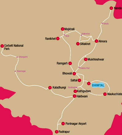Bhimtal on Map
