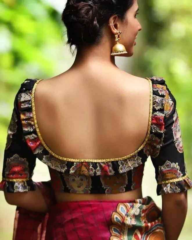Deep Back blouse design